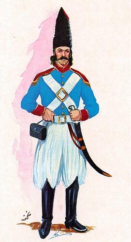 Early Qajar Persian Officer of General Abbas Mirza Era 19 AD