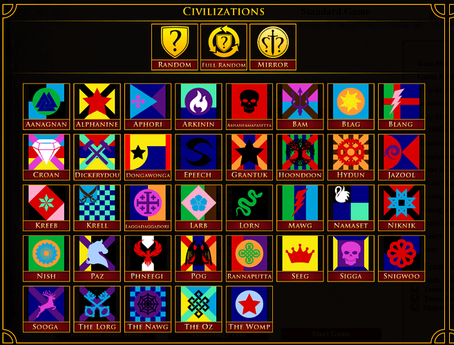 Screenshot of the selection screen for the mod