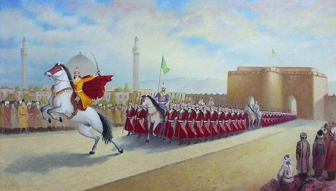 1280px-Ismail_declares_himself_shah_by_entering_Tabriz,_Chingiz_Mehbaliyev